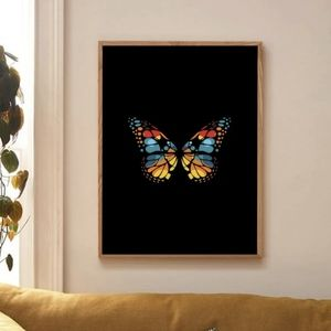 Colorful butterfly and black canvas wall poster